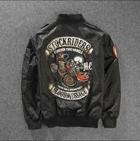 band jacket - Fall Skull Printed Two Wheel Stock Rider Men Vintage Rock Roll Harley Punk Band Ma Flight Jacket Pilot Air Force Bomber Jacket