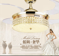 Wholesale Remote control crystal ceiling Fan lamp inch living room dining room Minimalism modern Fan lights ceiling crystal LED fans