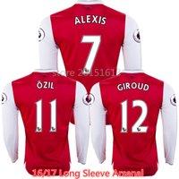 arsenal long sleeve - 2016 Long Sleeve The Gunners Soccer Jerseys Home OZIL WILSHERE RAMSEY ALEXIS GIROUD Welbeck Red Arsenals Jersey Thai Full Football Shirt