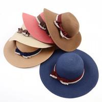 Wholesale Summer British Style Ladies Beach Cap Romantics Sun Cap With Bow Decoration Beach Travel Ladies Straw Hat