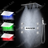 bath tub jet - 2 functions High Flow Bath Shower Mixer Tub Faucet Tap Set With LED ceiling Shower head Massage Body Spray jets