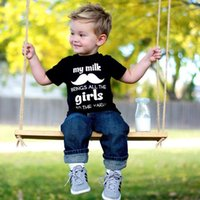beard clothing - 2016 New Fashion Boy Set Short sleeved T shirt Jeans Cotton Kids Suit Beard Letters Printed Boy Summer Clothes yrs