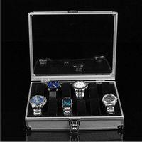 Wholesale 1pcs12 Grid Watches Box Display Storage Slots Jewelry Square Box Case Aluminium Watch Box watch collection box