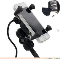 Wholesale 12 V inch Motorcycle Phone GPS Holder X Grip USB Charger Power Outlet Socket