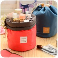 Wholesale New Cosmetic Bags Korea cylinder multi purpose large capacity portable waterproof cosmetic bag women hotel toiletry kits A0203