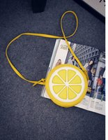 american girl cosmetics - 2016 Lemon personality circular shoulder diagonal small bag Fruit lemon Girl cosmetics mobile phones bags