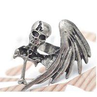 Wholesale European punk vintage style monoplane wings skull cross bronze silver plated alloy personalized rings for women men