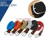 150PCS caliente nuevos 80 colores para mujer para hombre de la lona Llanura correas hebilla de metal Tejido Stretch correa de cintura cintas trenzadas de lona