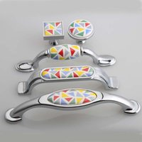 Wholesale 76mm silver chrome kitchen cabinet handles cololful ceramic drawer cabinet pulls knobs quot mosaic hand painted porcelain handles