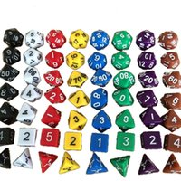 Wholesale 2016 High Quality Outdoor KTV Fun pc Set Dice Multi Sided Dice with Marble Effect d4 d6 d8 d10 d10 d12 d20 Dice Game Color