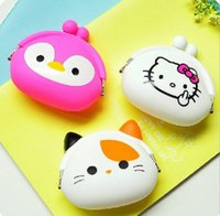 animal mix shoulder - Mixed colors Fashion Lovely Kawaii Candy Color Cartoon Animal Women Girls Wallet Multicolor Jelly Silicone Coin Bag Purse Kid Gift JF
