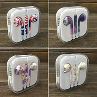 american microphone - In Ear Headset Printing Pattern Painted British American Leopard Lines Floral Zebra Patterns With Microphone Wire Earphone Earbuds H sl