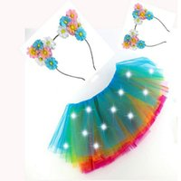 Wholesale children costumes Christmas light cat ears headband LED Tutu antlers wreath light dress clothing