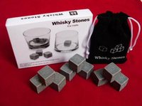 Wholesale Natural Whisky Ice Stones set Whisky Rock Stone Cooler Whisky Rock Soapstone Ice Cube With Velvet Storage Pouch High Quality Good Gift
