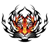 automobile cartoons - Automobile door head cover sticker label tiger reserve flame tire car sticker decal personality body garland