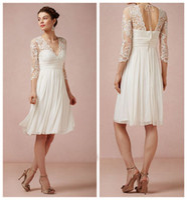Wholesale Beach Wedding Dresses Bhldn Summer Ivory Chiffon Lace Illusion Long Sleeve Knee Length Dress For Court Civil Wedding EN81213