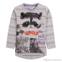 animal freshness - Brand New fashion girl s long sleeve shirt cotton five colors drop shipping gray freshness striped cat T shirt