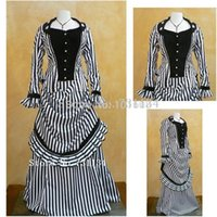 belle buttons - 2016 Black Striped Two Pieces Civil War Southern Belle Historical Dresses Women Renaissance Medieval Long Southern Belle Gowns