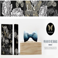 Wholesale Original high quality manual male bridegroom colorful gradient color printing bowknot gift box