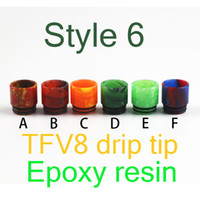 Wholesale Wide Bore TFV8 Epoxy Resin Drip Tip drip tip For Ego Atomizer Electronic Cigarette rda RBA Vaporizer Free
