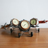 airplane desk clock - Retro Shabby Metal Clock Airplane Plane Home Desk Table Clock Ornament Color