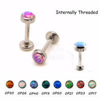 barbell push - 1PC Opal Stone Steel Labret Lip Rings Internal Thread Labret Barbells Earring Push Fit Top G Cartilage Piercing Body Jewelry