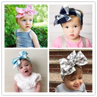 big hair bow ties - 2016 New DIY Tie Bow Headband Big Bow Cute Dot Print Baby Girls Cotton Headband Head Wrap Children Hair Accessory Years Old