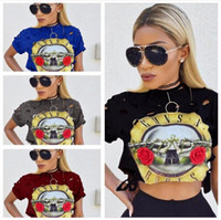 Wholesale European Sexy Ma am Sleeve Fashion Guns And Rose Band Printing Navel Short Fund T Pity