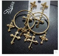 Wholesale SCE194 Europe and Korea fashion Baroque temperament more exaggerated golden earrings female cross
