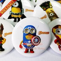 Wholesale 18pcs Minion Super Hero Button Badges Cartoon Picks Badges Buttons pins badges Round Brooch Badge Bags Accessories
