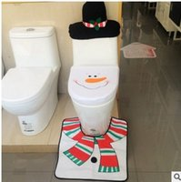 Wholesale 2017 Christmas decorations Christmas Snowman toilet set floor pad water tank cover paper towel set of Christmas supplies