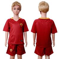 Wholesale 2017 Kids Kit Soccer Jerseys Children Youth Jersey Sets Rome Dzeko Totti De Rossi Kids Set Home Red Uniforms Jersey