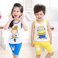 baby singlet suits - 2016 summer sets of the children Cartoon print vest set cotton baby boys girls sports casual suit Singlet with racer back shorts