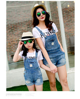 Wholesale jeans overalls of kids and moms Cowboy straps short paternity suits jeans with T shirt Mother And Daughter Dresses Family Clothes Set