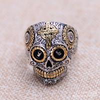 La joyería al por menor de Jimei vende al por mayor el bolso de plata de la joyería del anillo del Mens del cráneo de la cruz de la joyería de la plata esterlina 925 retro + poste