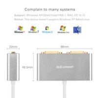 Wholesale Ugreen USB to Dual DVI HDMI VGA External Multi Display Adapter High Premium Converter Cable for Windows XP Vista