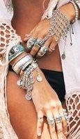 Wholesale Hot Bohemian jewelry tribal turkish alloy silver Plated floral design boho bracelet Coin Bracelets Retro Layer Tassels Ring Bracelet Chains