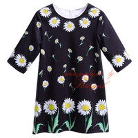 Wholesale Pettigirl Newest Style Chrysanthemum Flowers Print Black Girl Dresses Back With Zipper O Neck Collar50 Nylon Children Clothing GD90124 F