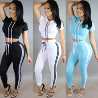 Wholesale Europe summer hot new Hooded women casual sportswear suit Slim Solid Tracksuits tops and pants white black sky blue