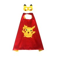 Wholesale Hot Sale Kids pokémon go cosplay cape with mask poke pikachu Masks L70 W70CM Double Side sets Children Cosplay Halloween Customes Set MC0101
