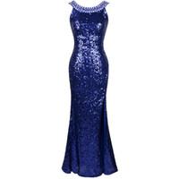angels coral - vestidos de noiva Angel fahions Sexy Round Neck Beading Blinging Sequined Split Evening Dress Blue