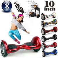 Wholesale 10 quot Electric Scooter Hoverboard Smart Balance Two Wheel Standing Scooters self Unicycle balancing with Bluetooth Speaker Samsung battery