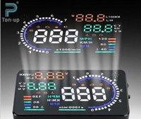 Wholesale 5 quot A8 Car HUD Head Up Display Projector Digital Light Self adaptive Speeding Warning Fuel OBD II and EOBD Speedometers