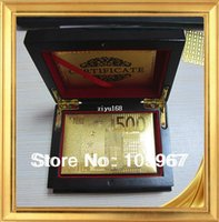 Wholesale 1 Piece Sets Euro Design No Pollutions Gold Foil Plated PET Gold Playing Cards With Wooden Boxes Packing