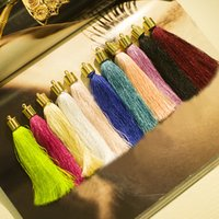 Wholesale Mix Clr cm Cotton Silk Tassel For Keychain Cellphone Straps Jewelry Charms Charming Handmade Tassel With Metal Caps Diy Accessories