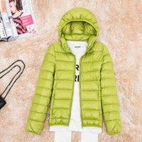 Wholesale Listed on the new dress hooded pure color short straight down jacket portable Cold thin coat colors Containing white duck feather
