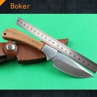Nuevo cuchillo de caza 440C 58HRC del boker Cuchillo de acampada de la supervivencia de la lámina de la perla de madera natural de la perla con la envoltura de cuero