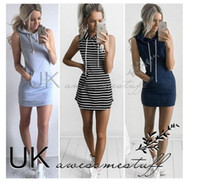 achat en gros de xs mini dresses-New Women Casual Robes à capuche 2016 Summer sans manches Lady's Street Style Robes courtes Sports de plein air Striped One Piece Pencil Dress Black