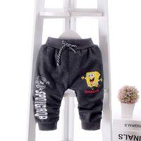 baby spongebob pictures - 2016 New Autumn Winter Baby Pants Plus Velvet Legging Baby Warm Trousers with SpongeBob Carton Pictures For Boys Girls LL19
