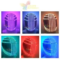 Cheap LED helmet fashion Motorcycle Riding Safety helmet Luminous costumes street dance Performance props Dance party LED helmet JHD-H0014